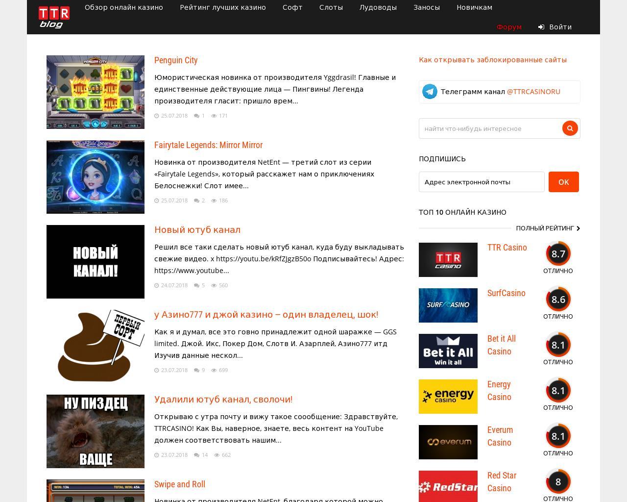 ттр блог рейтинг казино